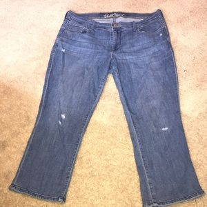 Stretch denim capris